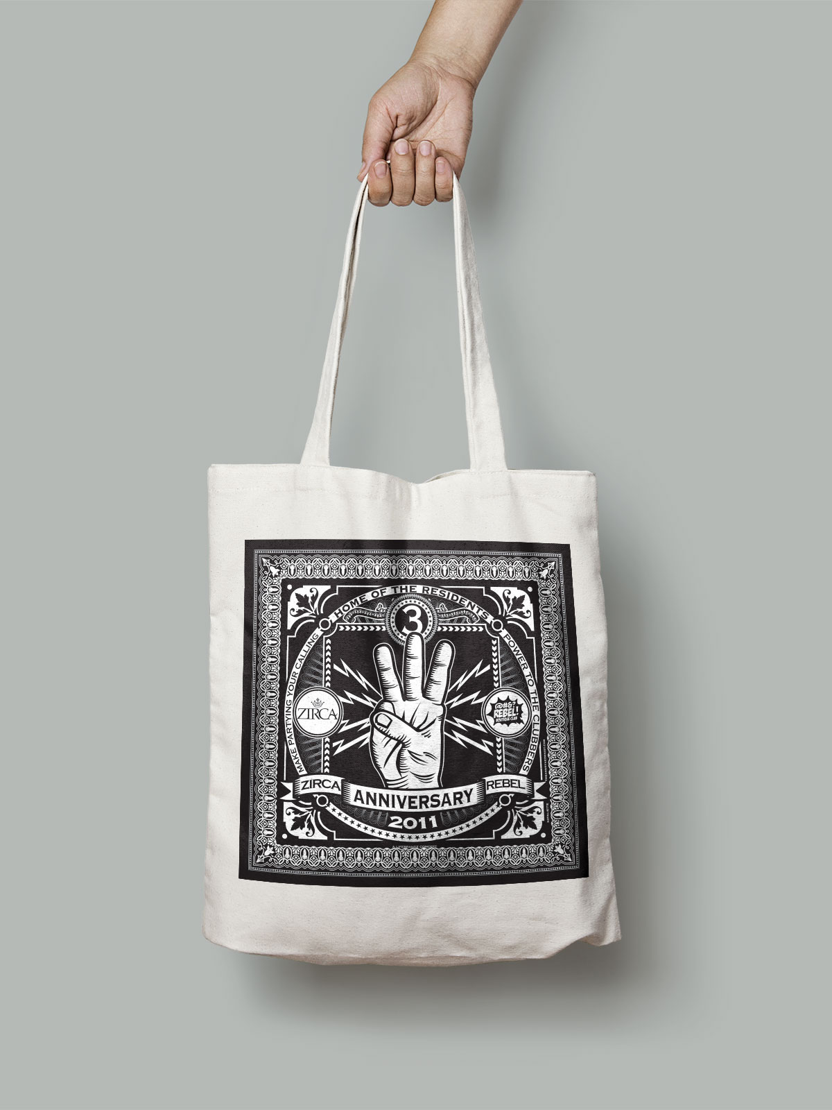 A totebag was produced to be given away as a special doorgift for the event.