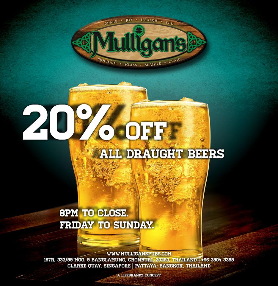 Mulligan's Pattaya draught beer promotion poster