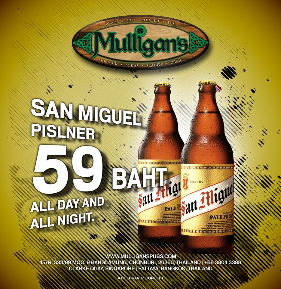 Mulligan's Pattaya San Miguel beer promotion poster