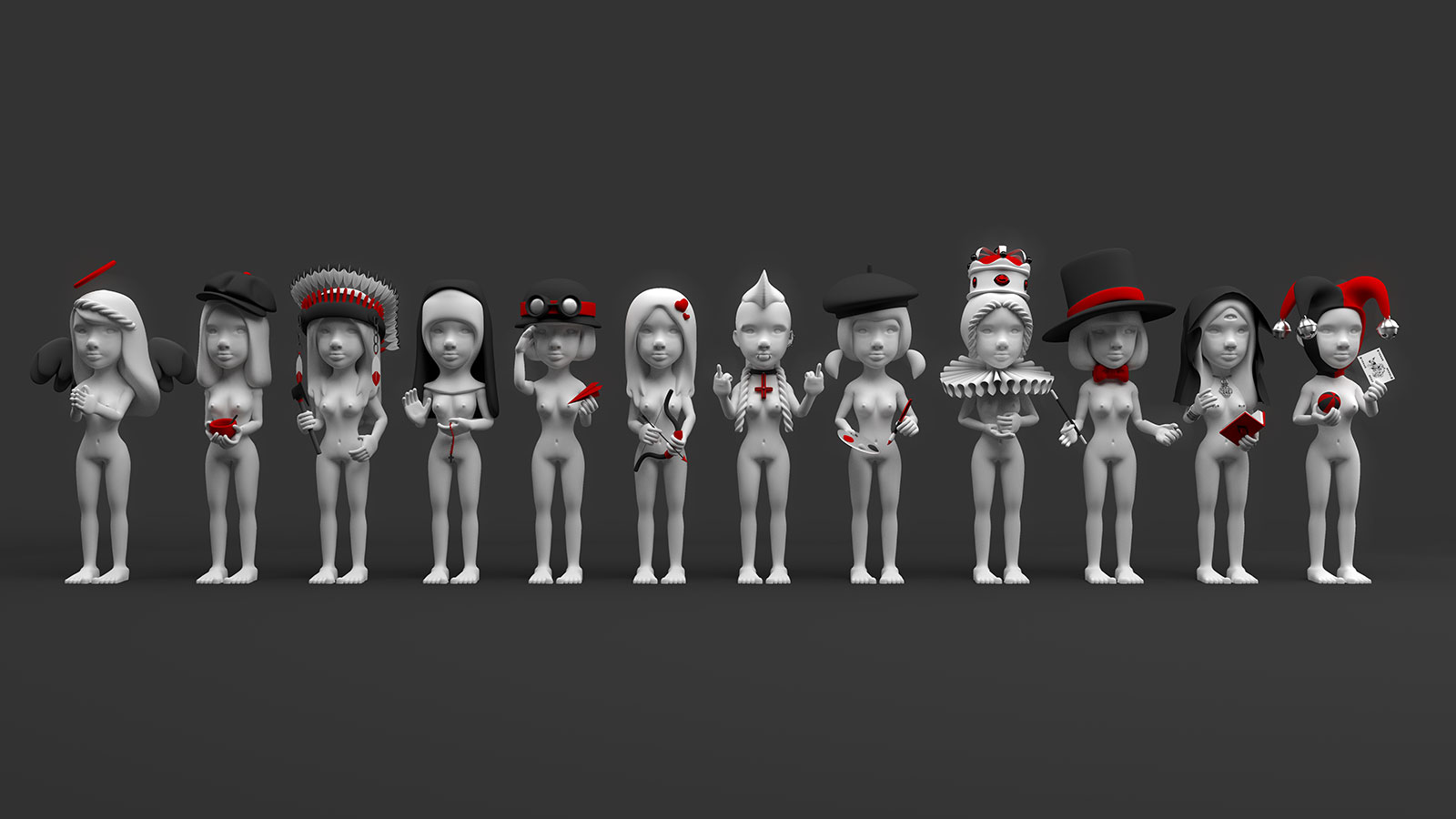 The complete 3D model set of Ava in her 12 archetype forms