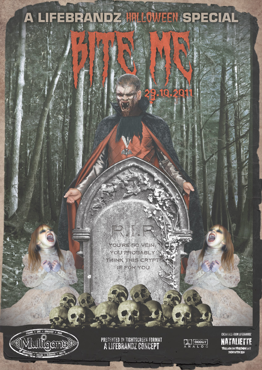 Mulligan's Halloween 2011 poster, BITE ME